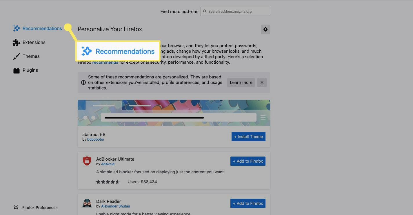 Firefox add-on recommendations.