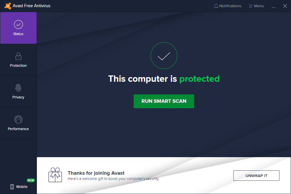 Screenshot of the Avast Free Antivirus status screen in the Windows 10 app