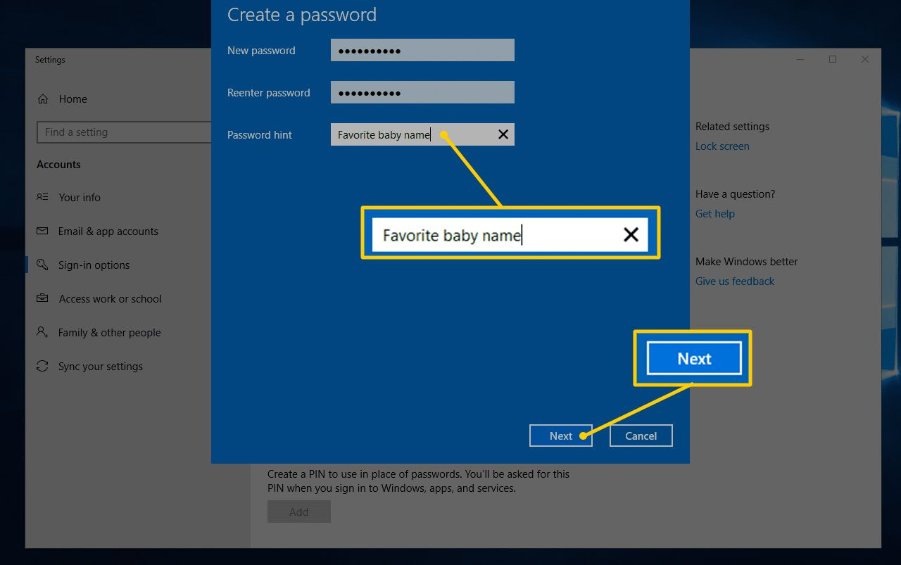 Password hint field and Next button in Create a password