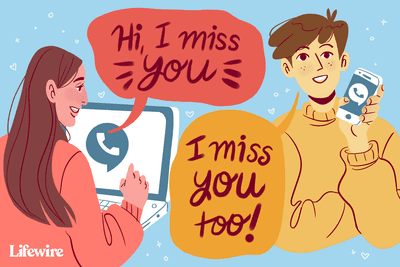 Illustration of a couple talking via laptop and mobile phone.