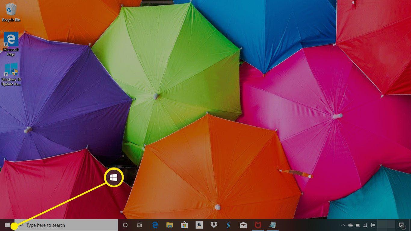 A Windows 10 desktop with the Start menu highlighted