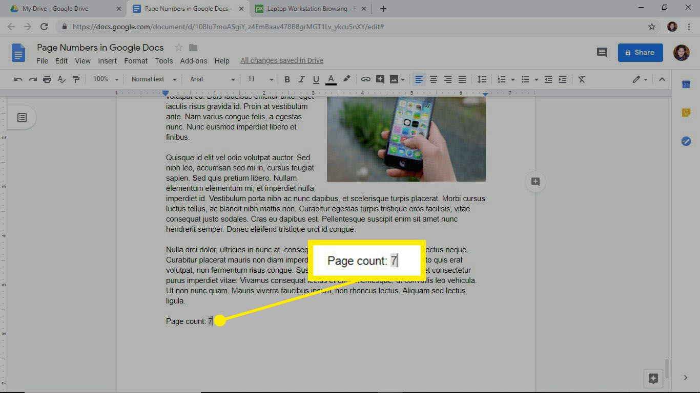 Add a page count to a document in Google Docs