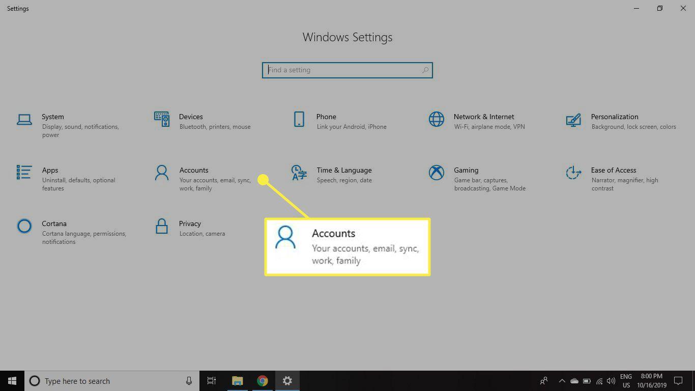 The Accounts heading in Windows 10 Settings