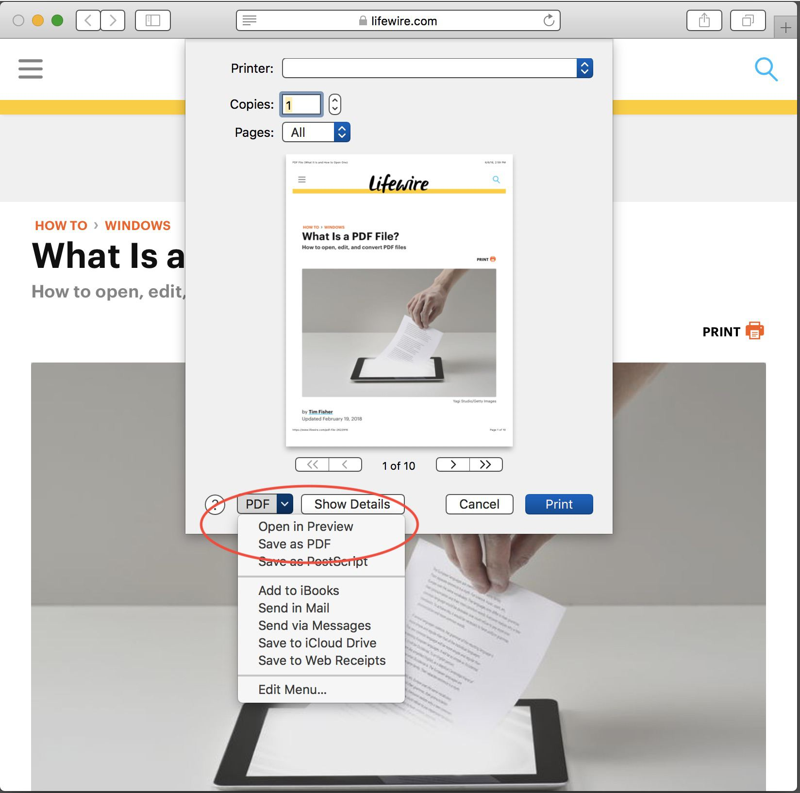 How to Save a Web Page as a PDF in Safari