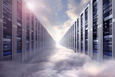 Digital illustration of endless server room floating in clouds