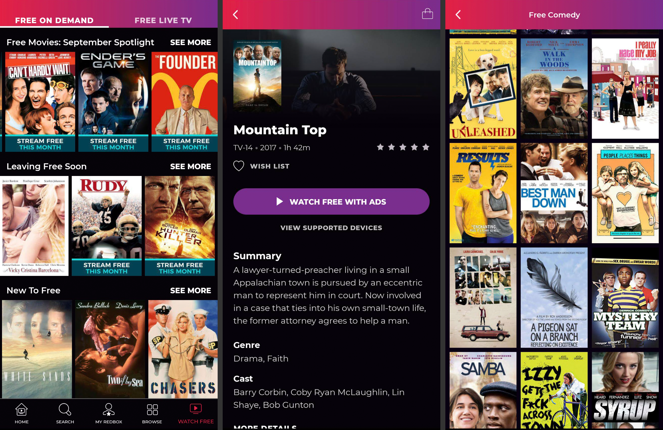 Redbox's free movie app for Android