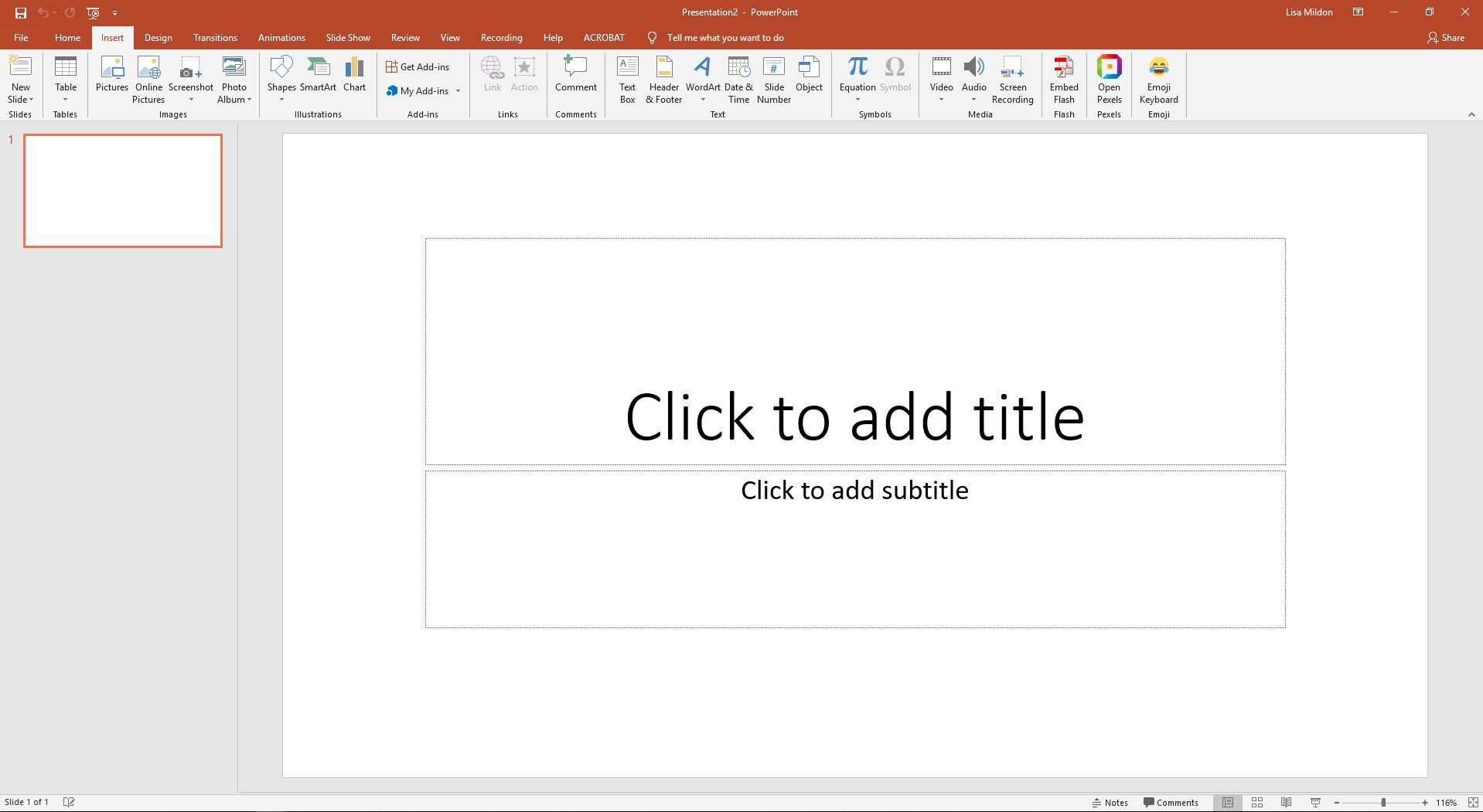 PowerPoint displaying the Insert tab options.