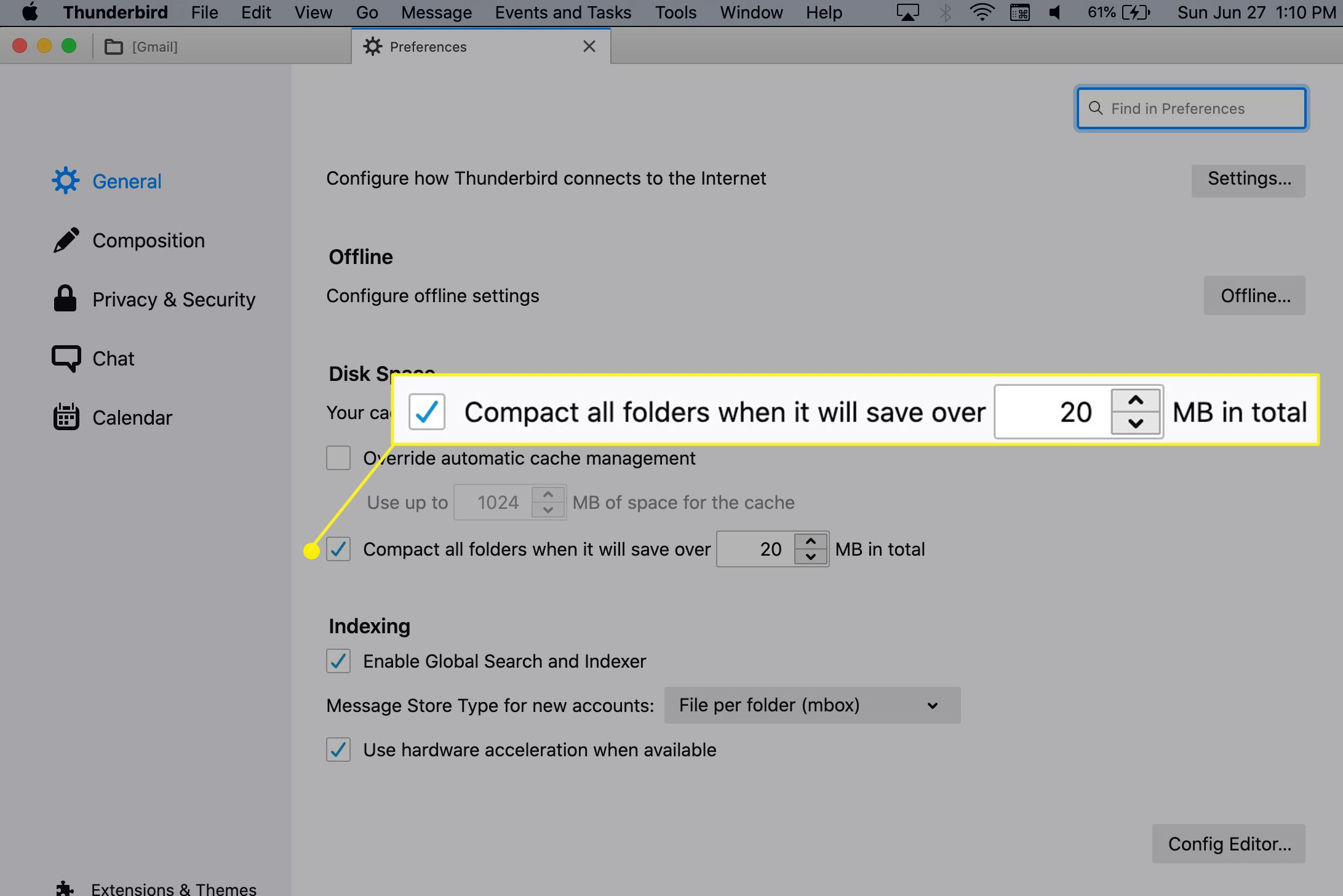 Compacting options in Thunderbird