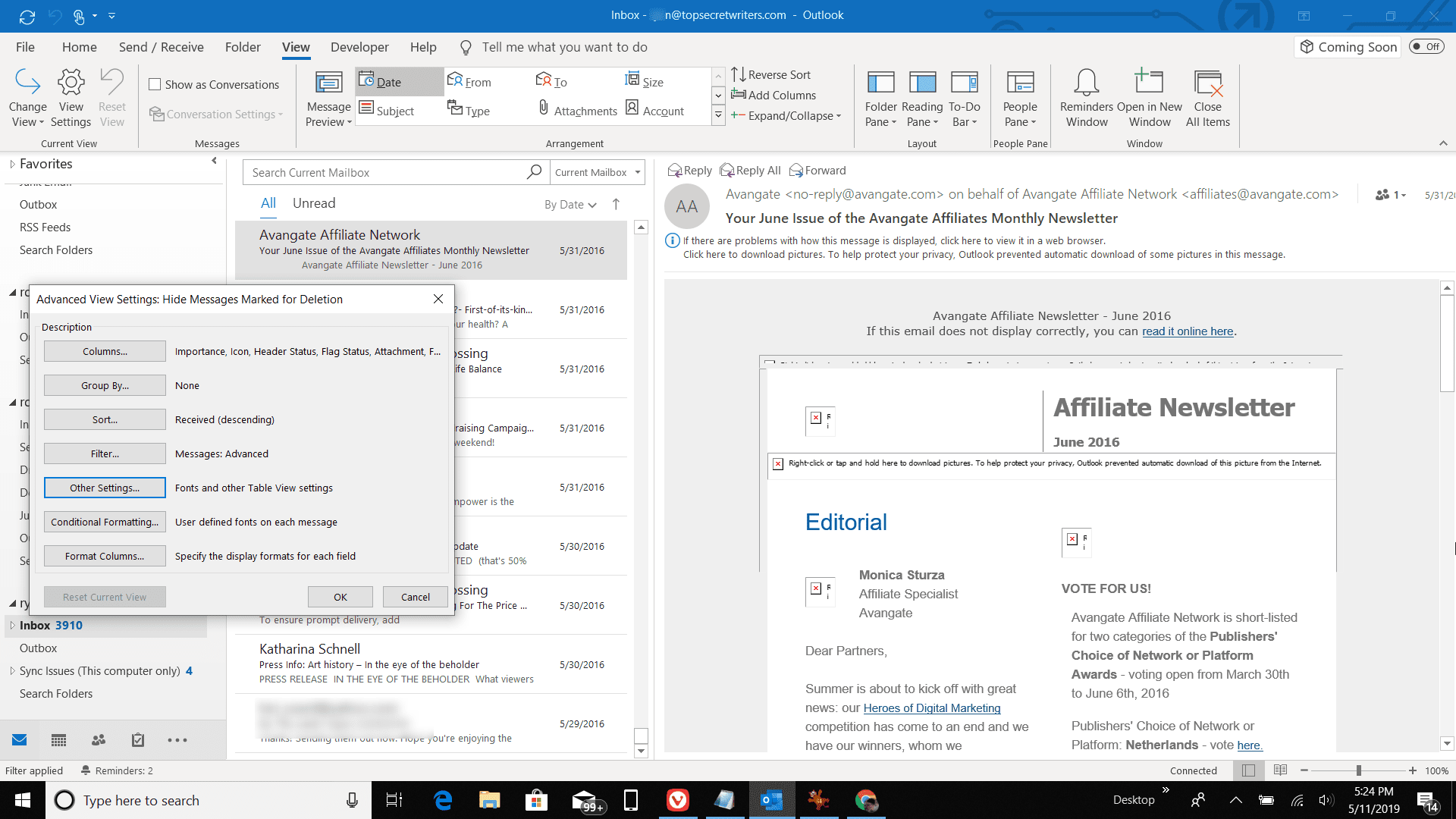 Screenshot of Advanced View Settings in Outlook