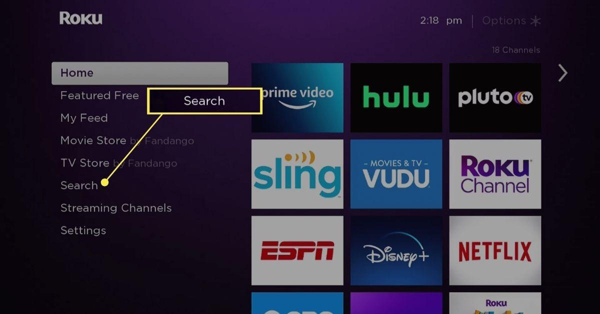 Search on Roku home screen