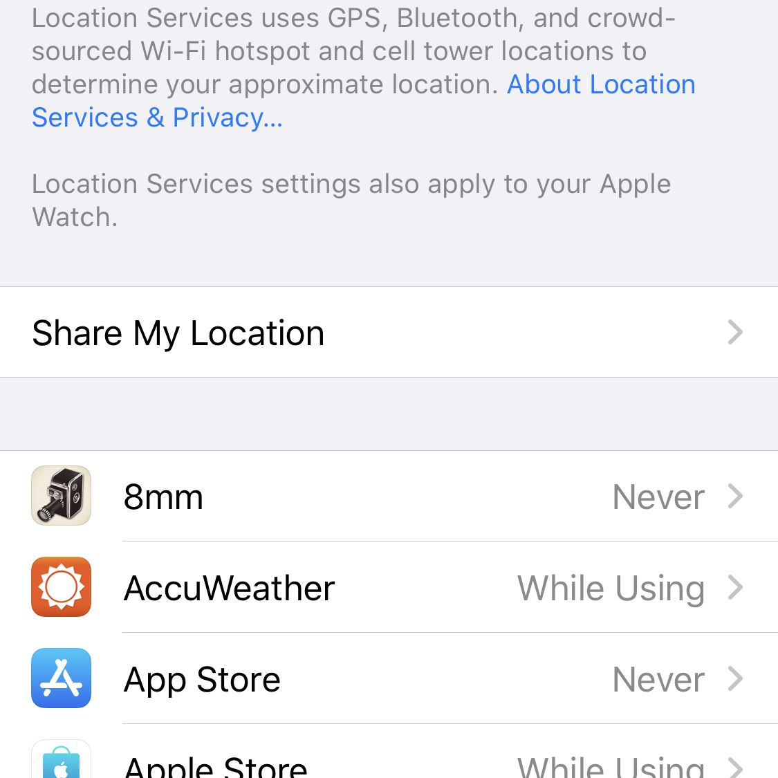 Location Services on iPhone screenshot