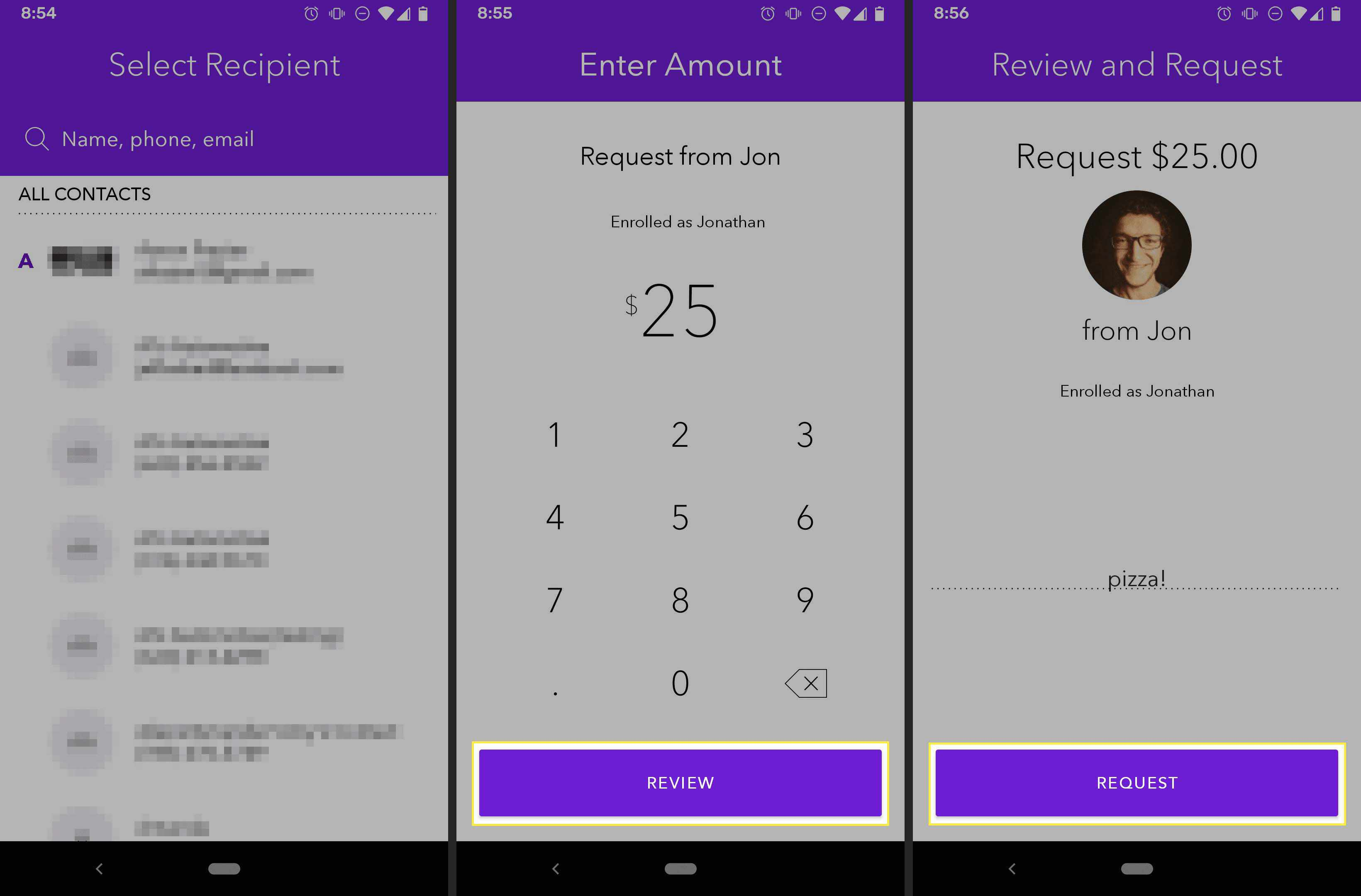 Zelle Android app requesting money from another user.