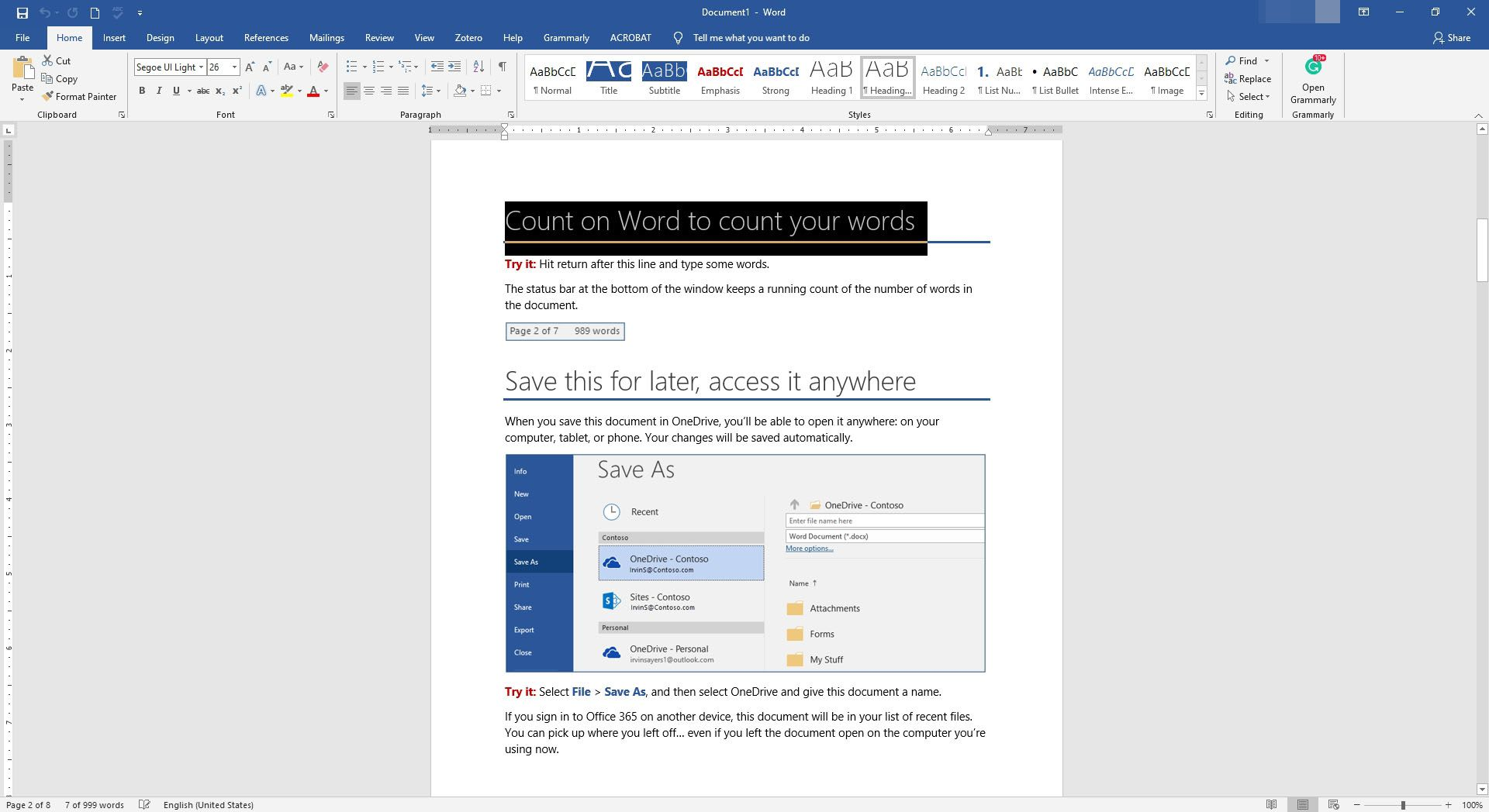 Text is selected in MS Word.