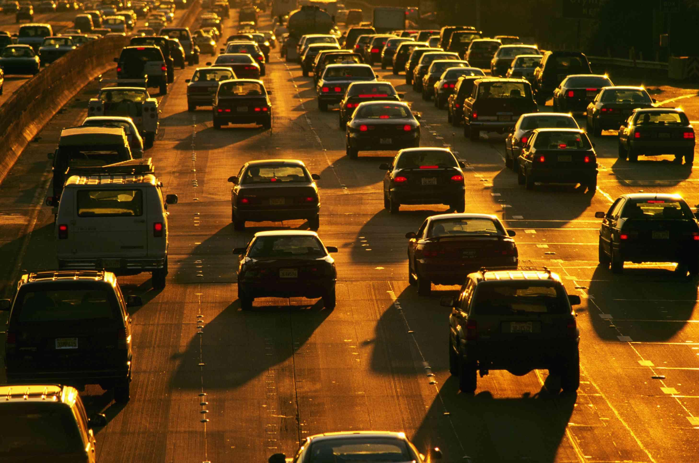 Heavy traffic on a ten-lane freeway.