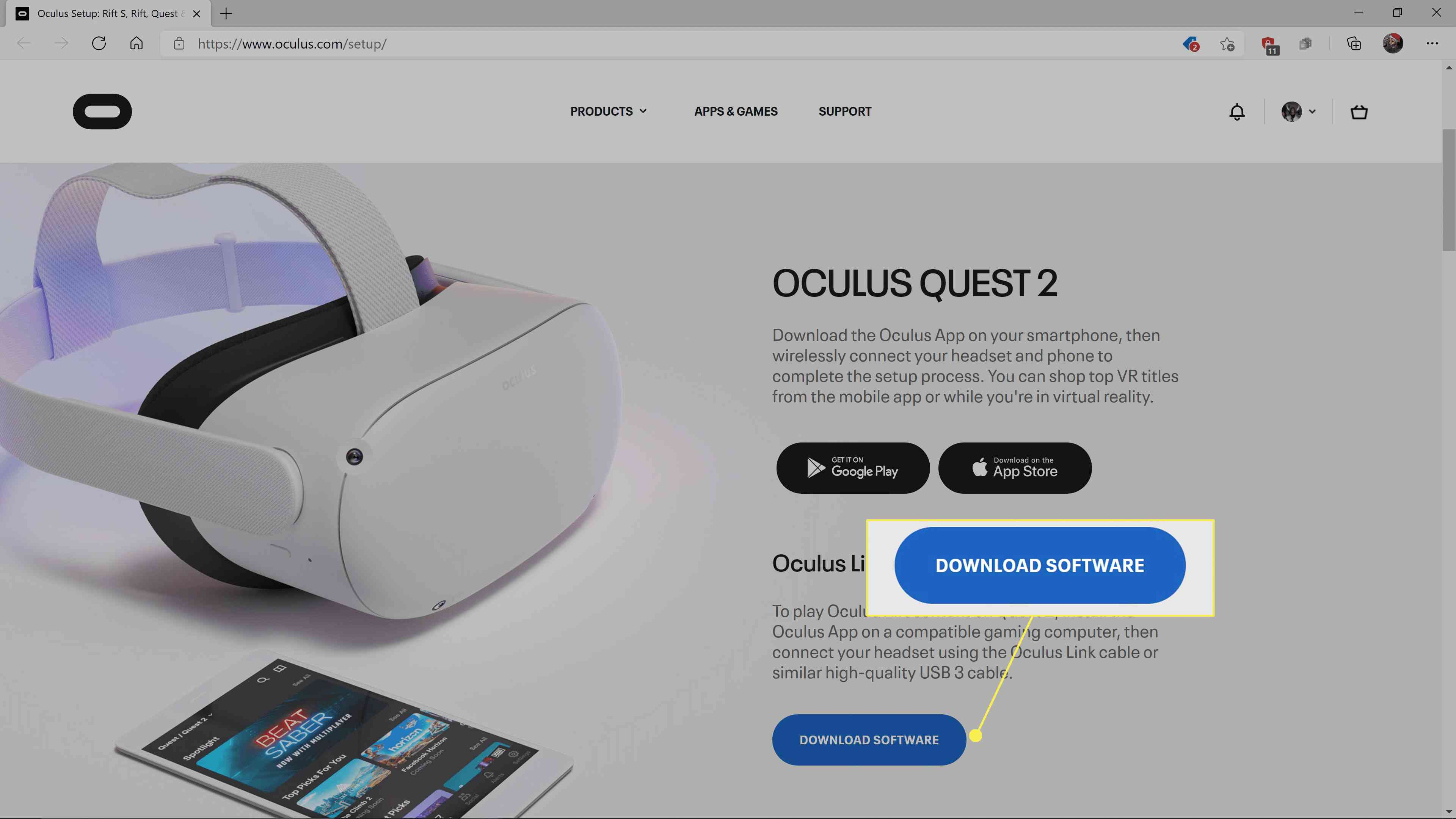 The Oculus Quest app download site with Download Software highlighted