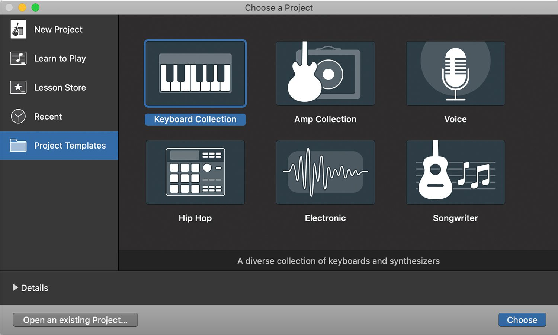 Project template screen in GarageBand