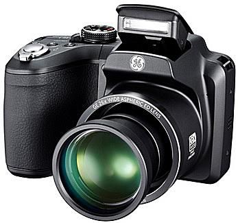 The GE X2600 digital camera has a 26X optical zoom lens and is available in either blue or black camera bodies.
