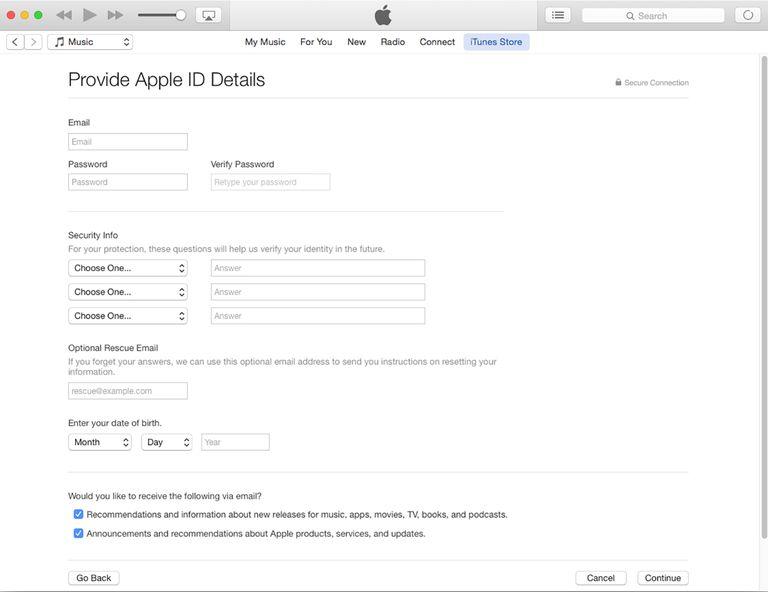 create an apple id using itunes