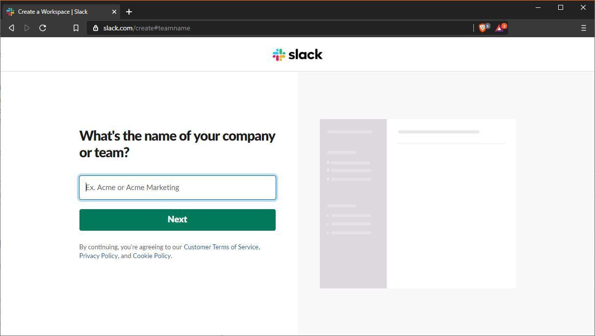 A screenshot of the Slack company or team name entry screen.