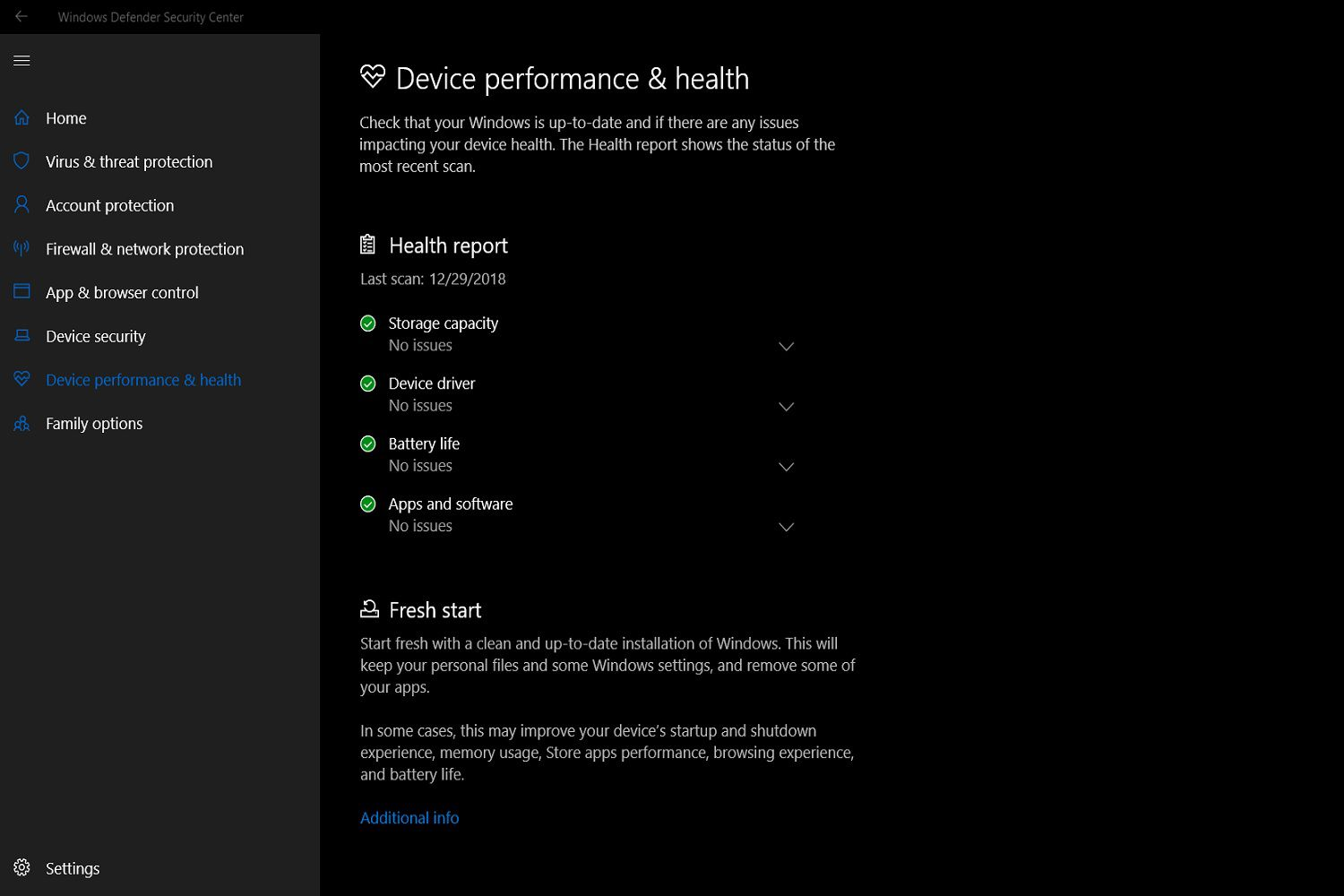 A screenshot of the Windows Defender Security Center's Health report feature.