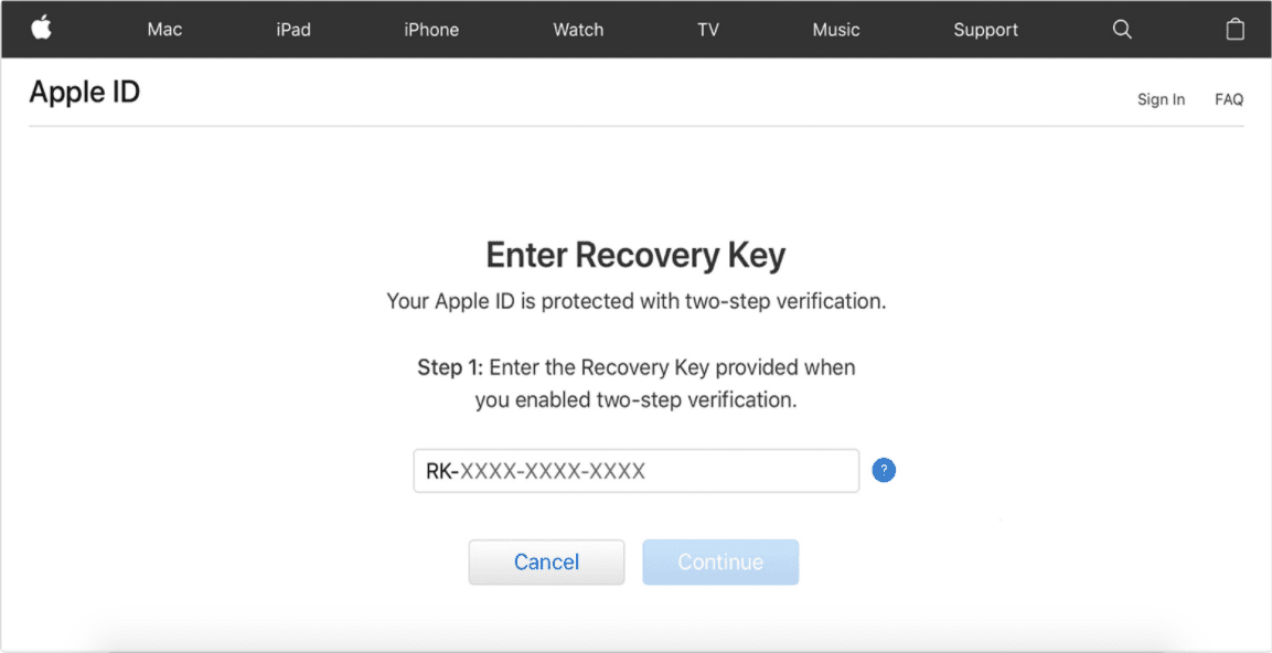 Apple ID Enter Recovery Key