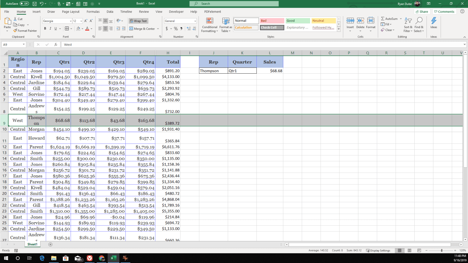 Screenshot of XLOOKUP column and row search results