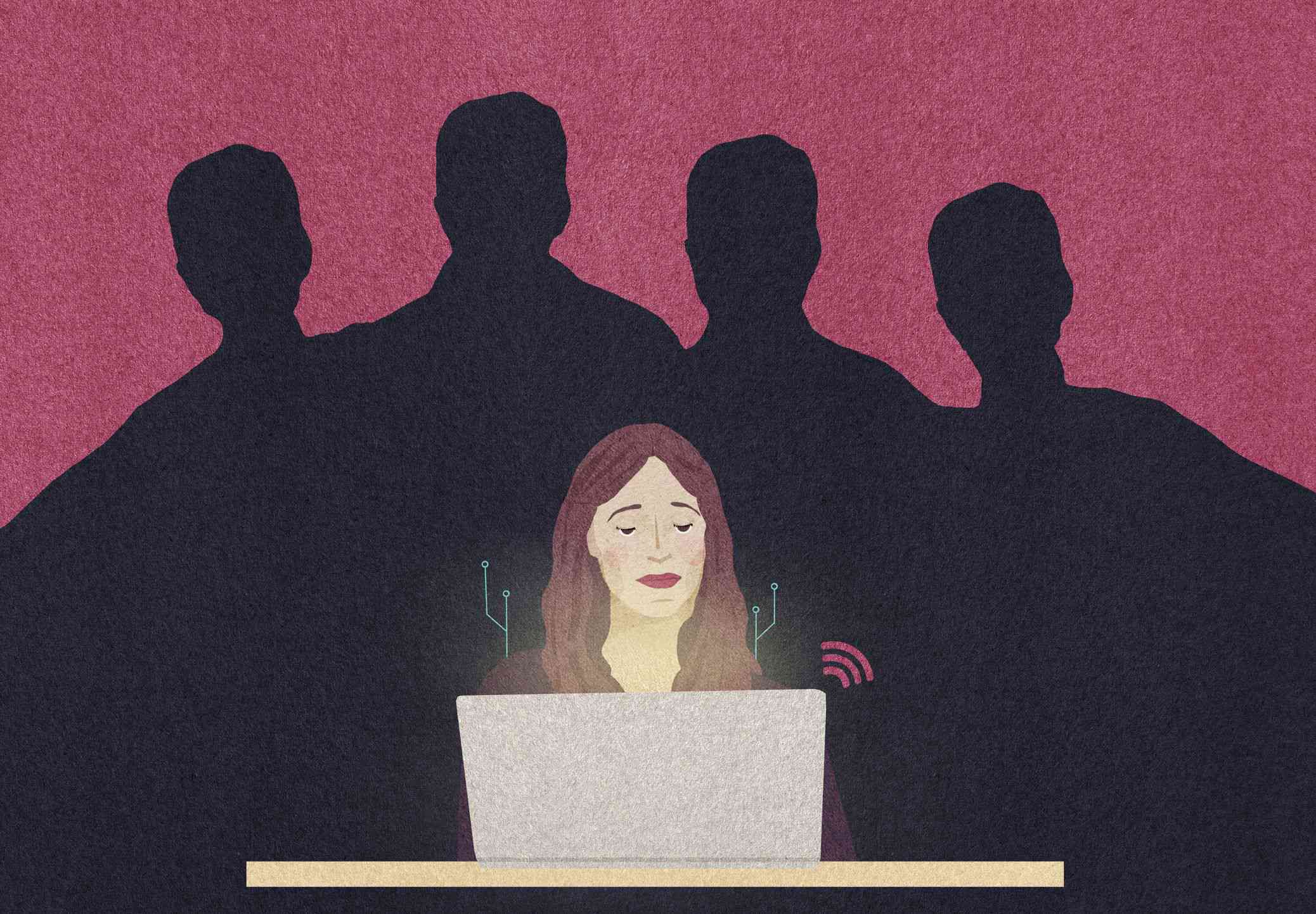 Graphic of woman using computer with shadowy figures behind her