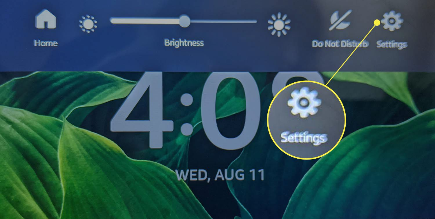 Settings (gear icon) highlighted in the main Echo Show menu.