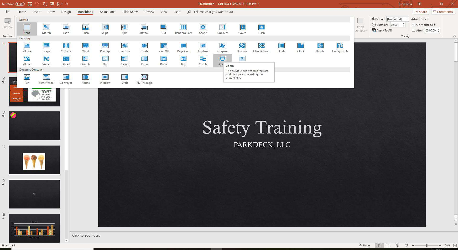 Add a transition in PowerPoint