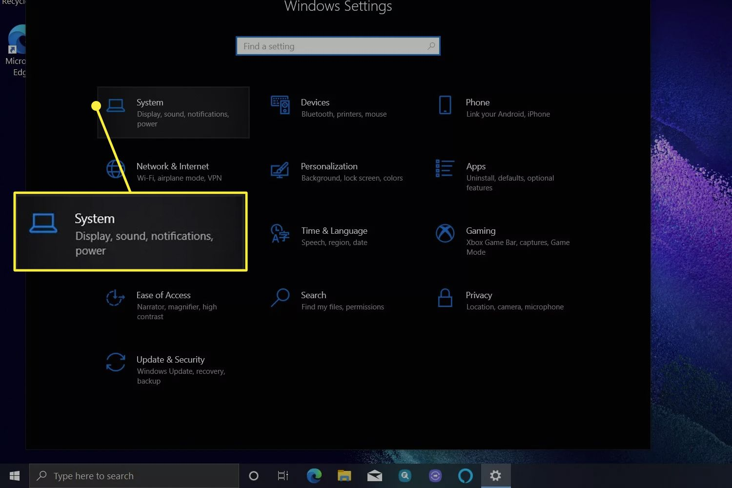 The Windows 10 Settings menu with System highlighted.