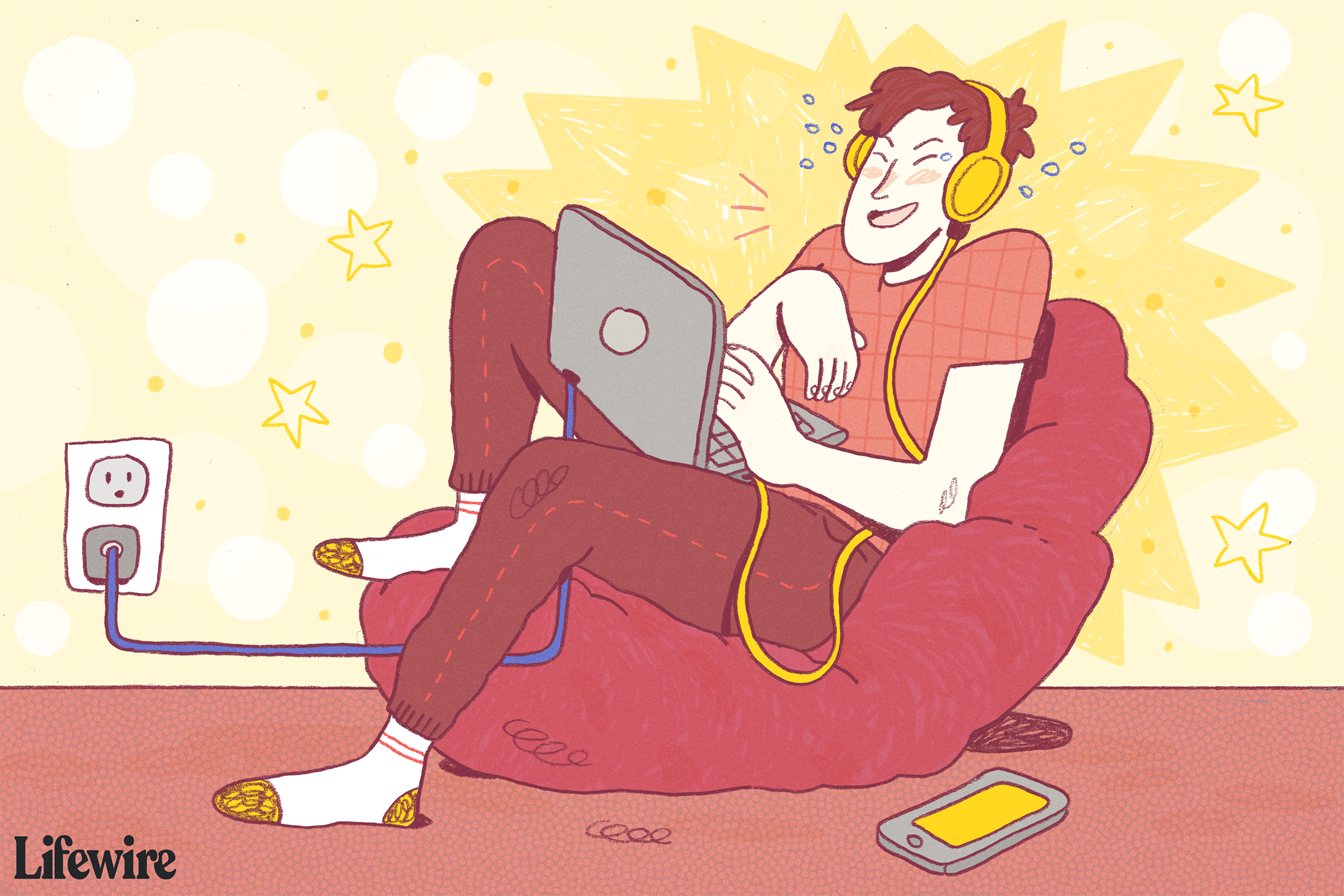 Illustration of a young man sitting at a laptop wearing Beats-type headphones and laughing
