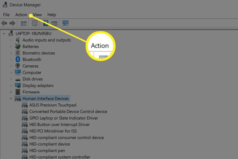 Action menu in Device Manager