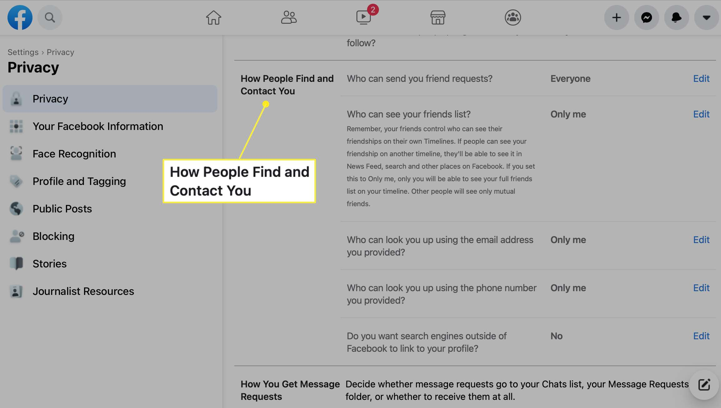 How People Find and Contact You Settings on Facebook