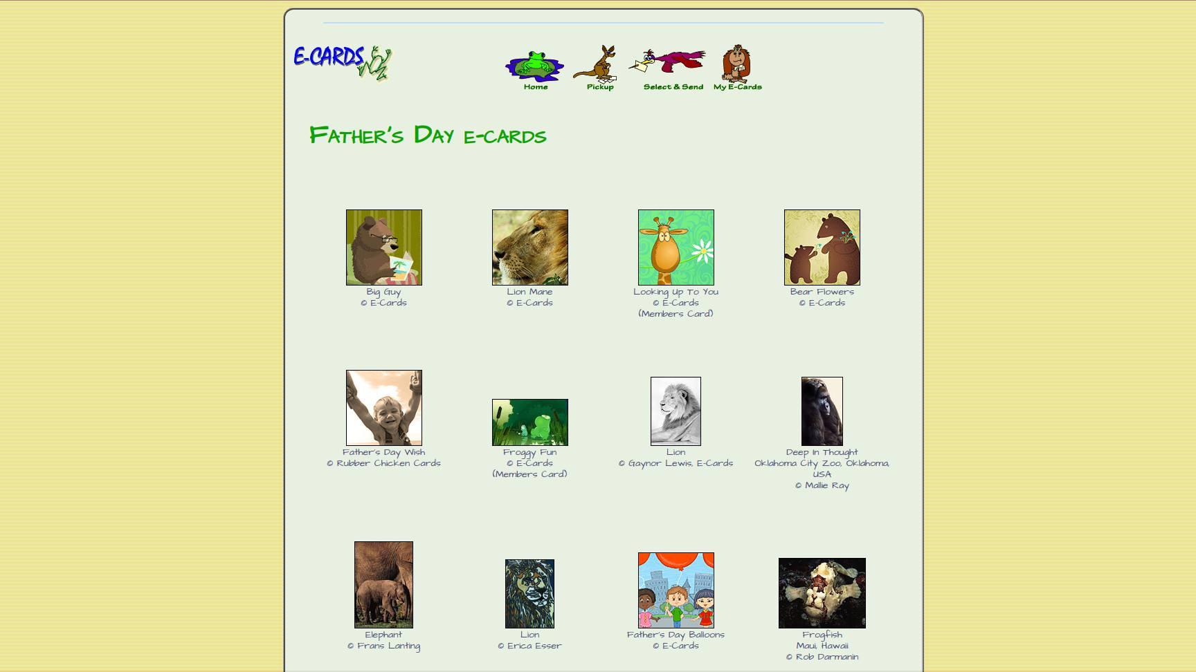 E-Cards web page