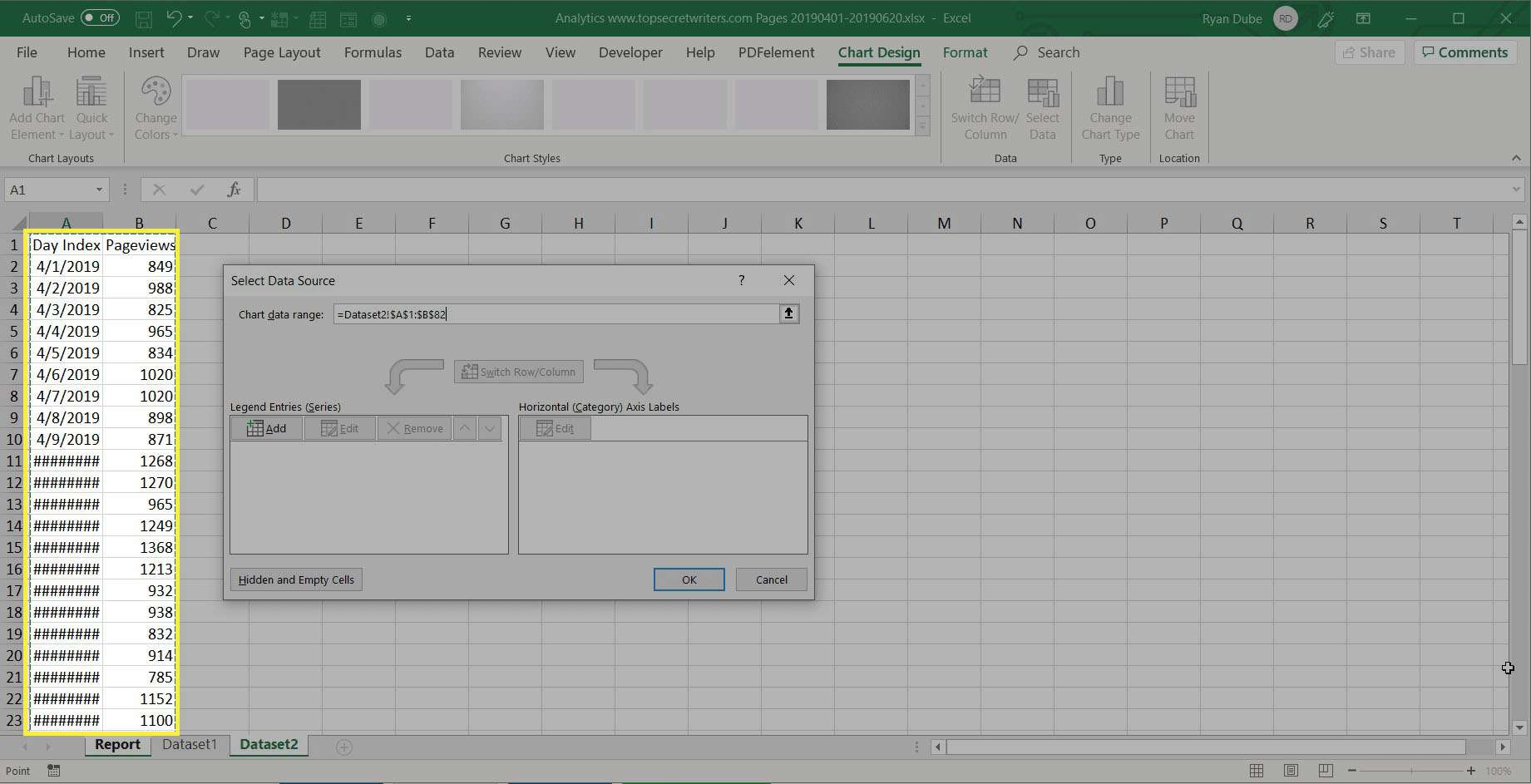 selecting data in Excel