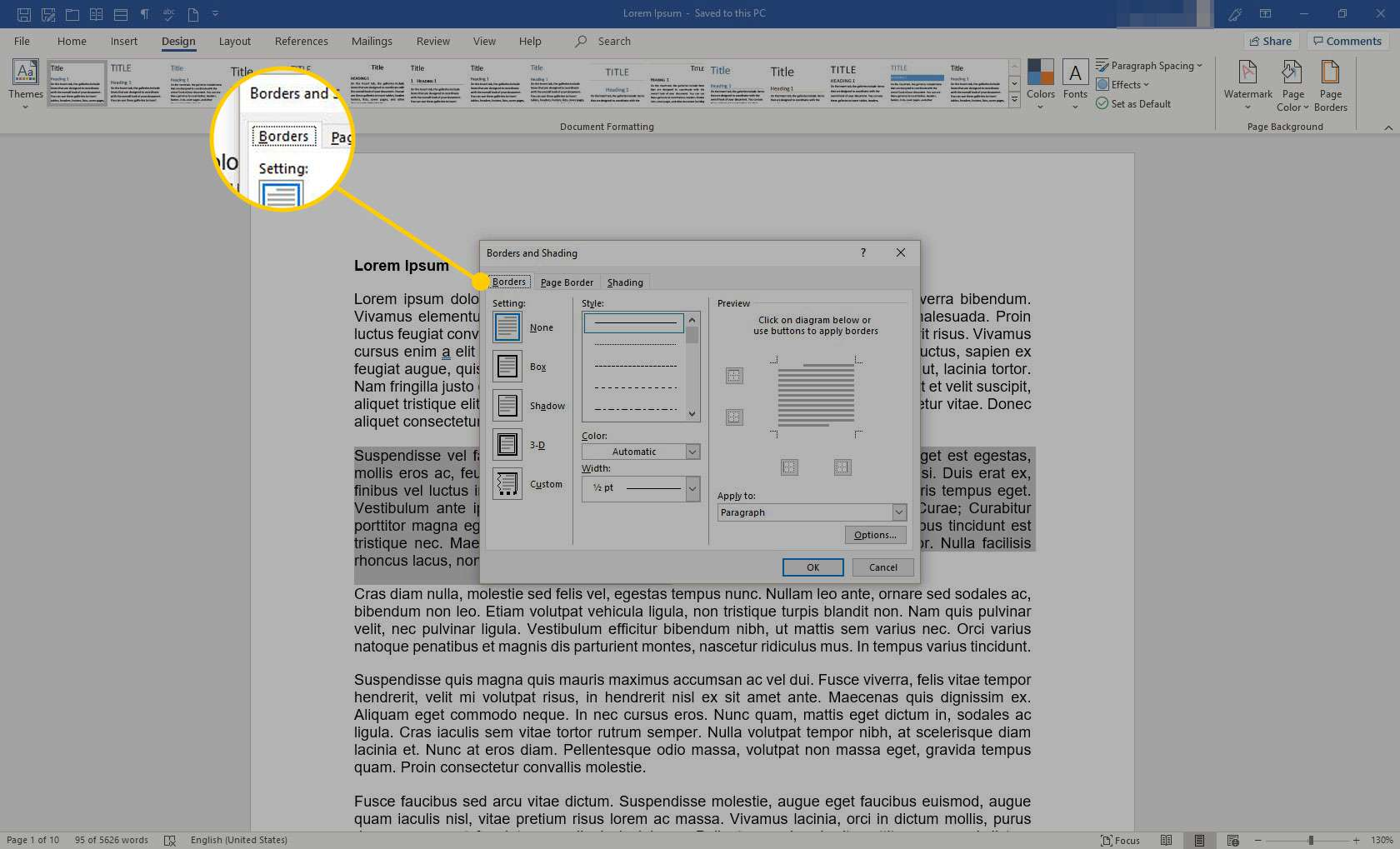 Borders and Shading menu in Word with the Borders tab highlighted