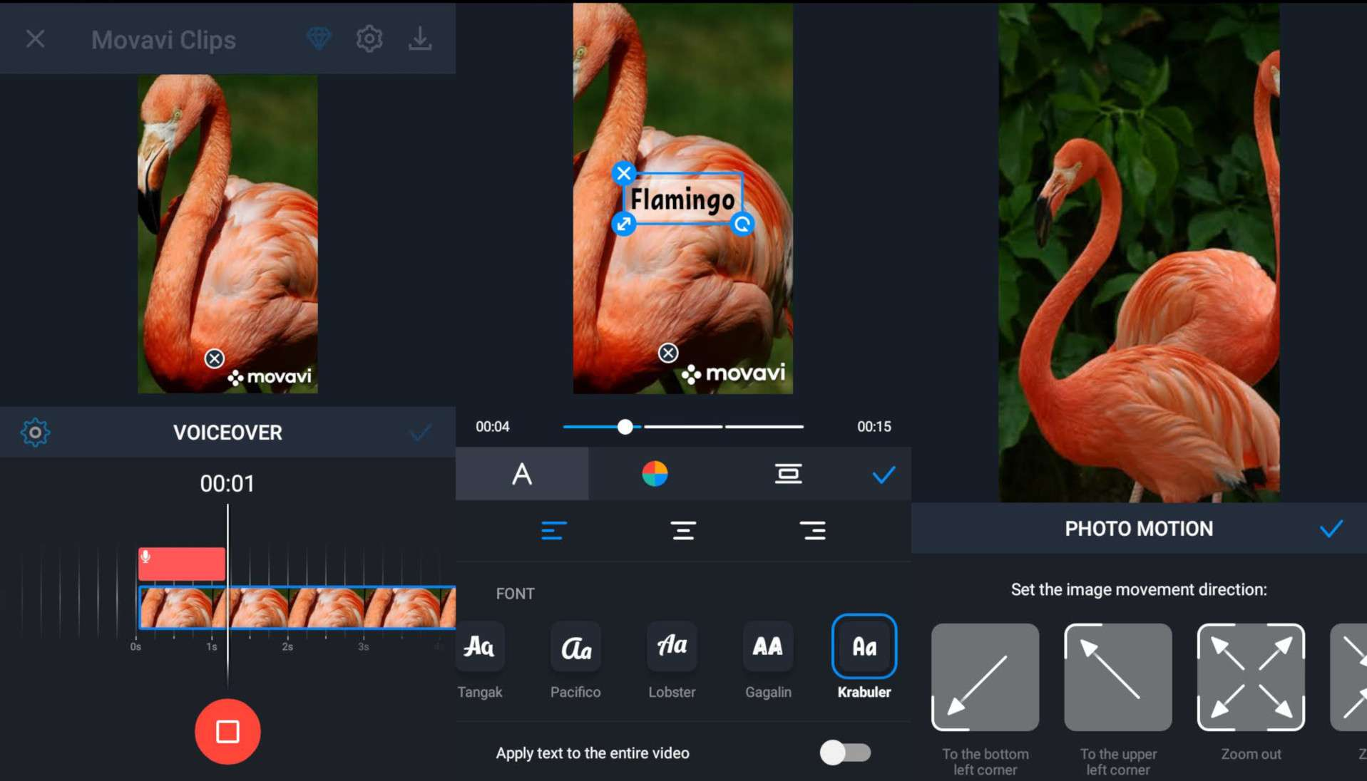 Record a voiceover, add text, and apply motion to Movavi Clips slideshows