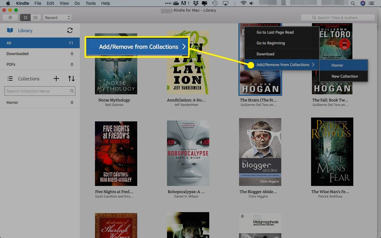 Right-click menu on a book in the Kindle app for Mac with the