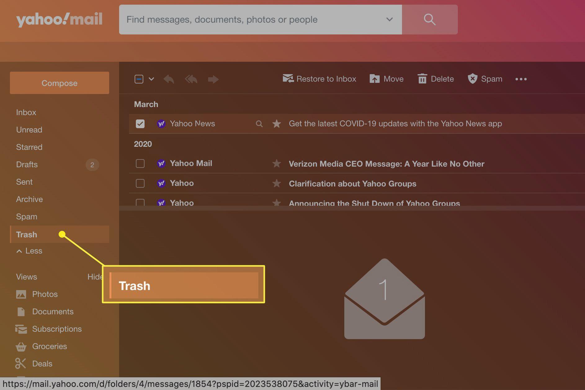 Yahoo Mail Trash in menu