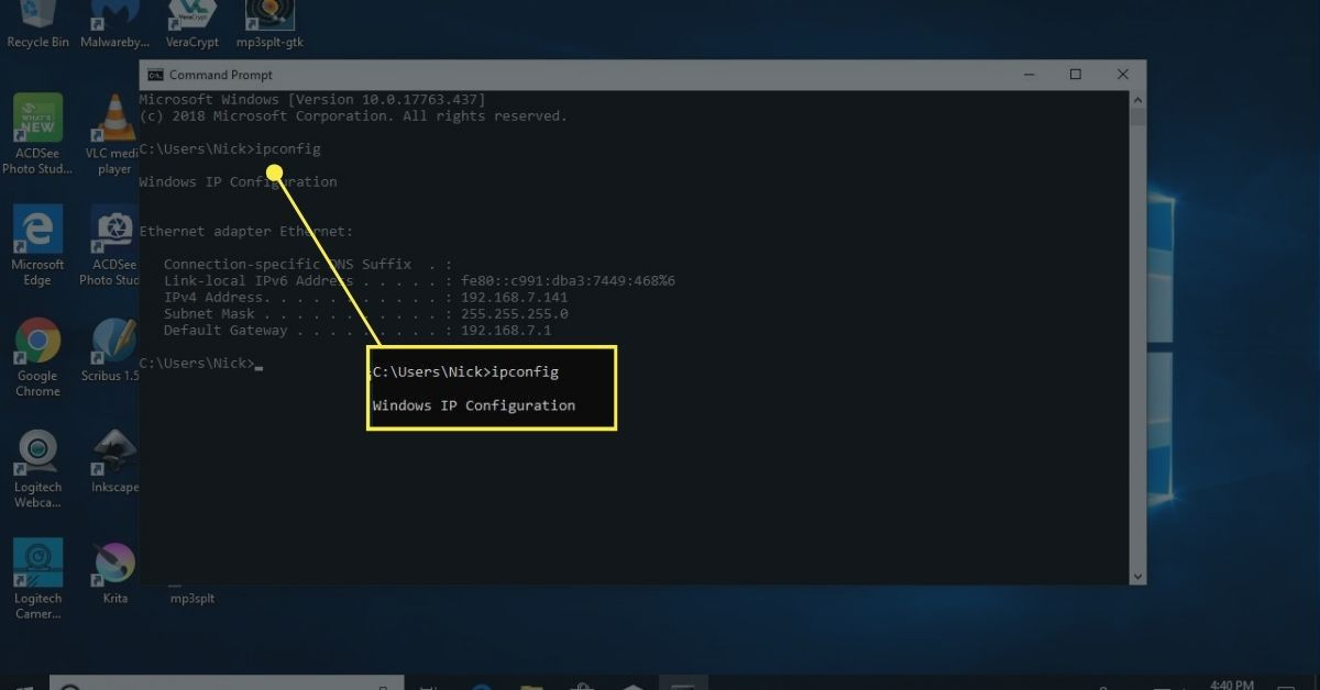 Use ipconfig to find your router IP on Windows