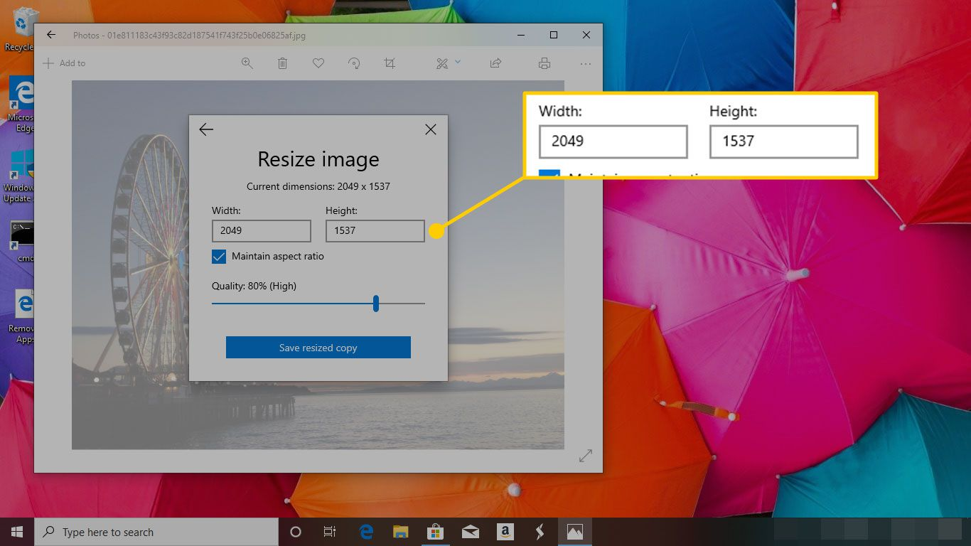 Resize Image menu in Photos for Windows 10 with the Width and Height windows highlighted