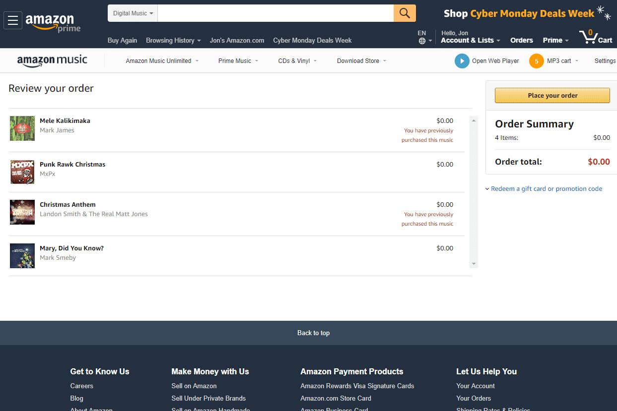 Download Free Christmas Music at Amazon