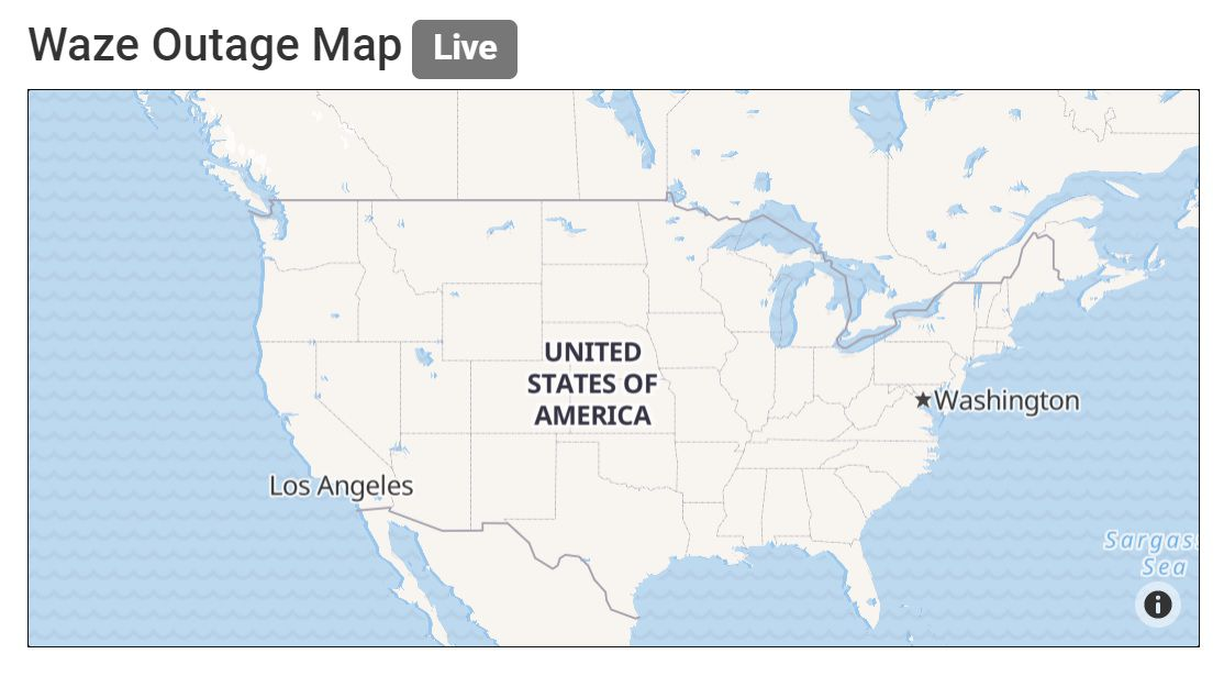 Waze outage map on Outage.Report