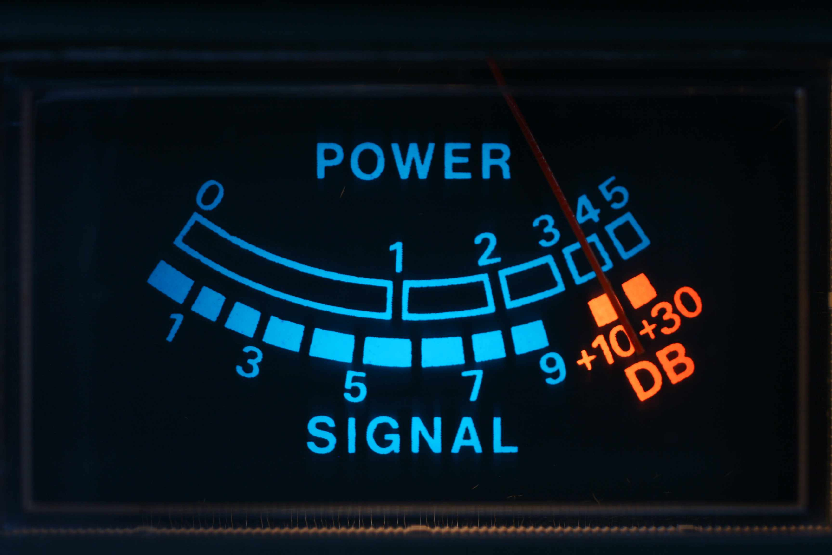 A signal strength meter showing input power and output decibels