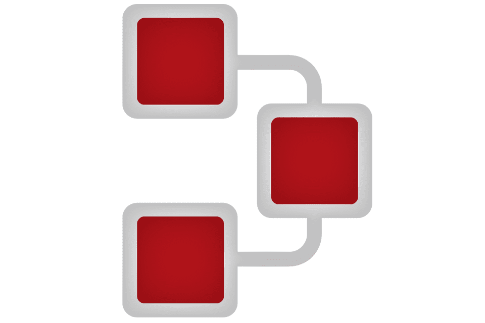 Illustration of a network with three red boxes