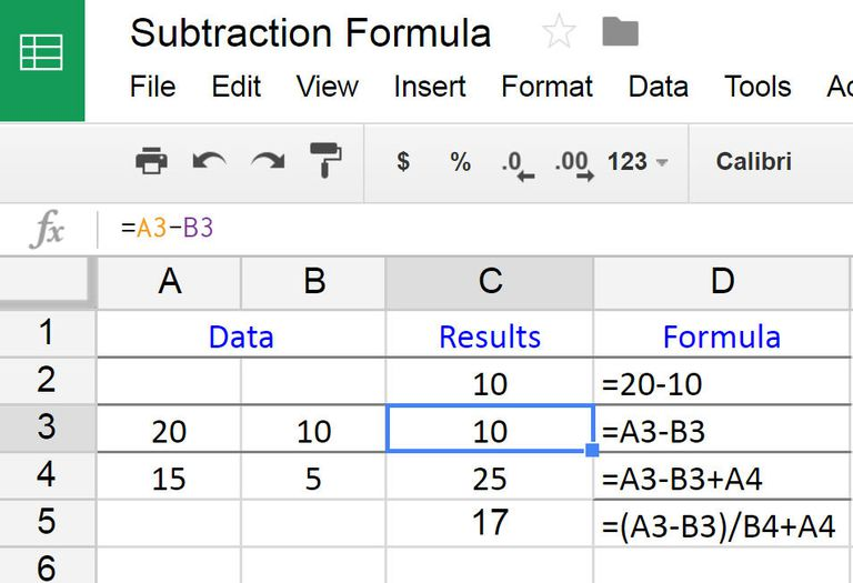 How to Subtract in Google Spreadsheets using a Formula