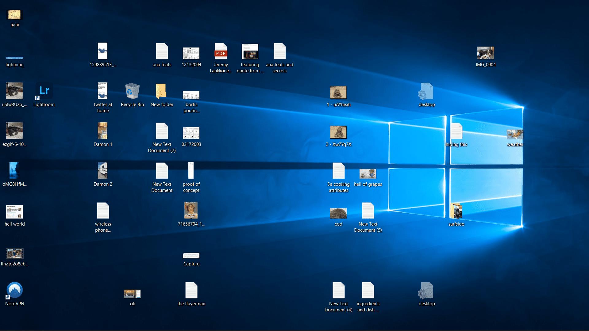 A cluttered desktop.