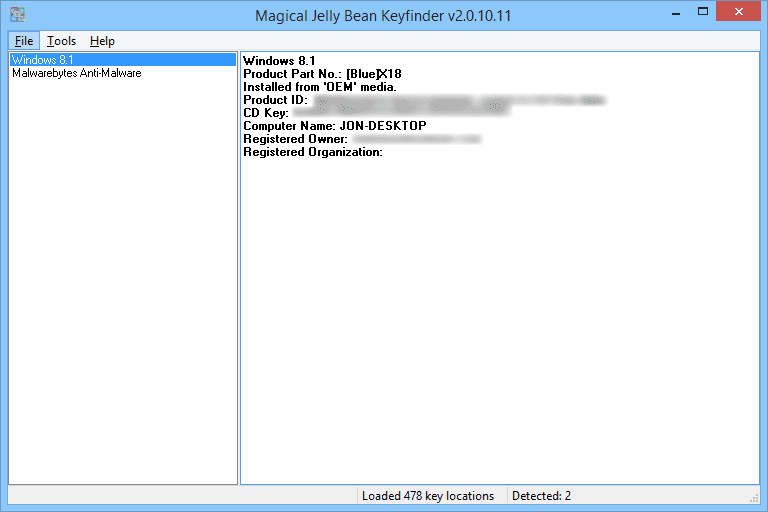 Screenshot of Magic Jelly Bean Keyfinder v2.0.10.11 in Windows 8