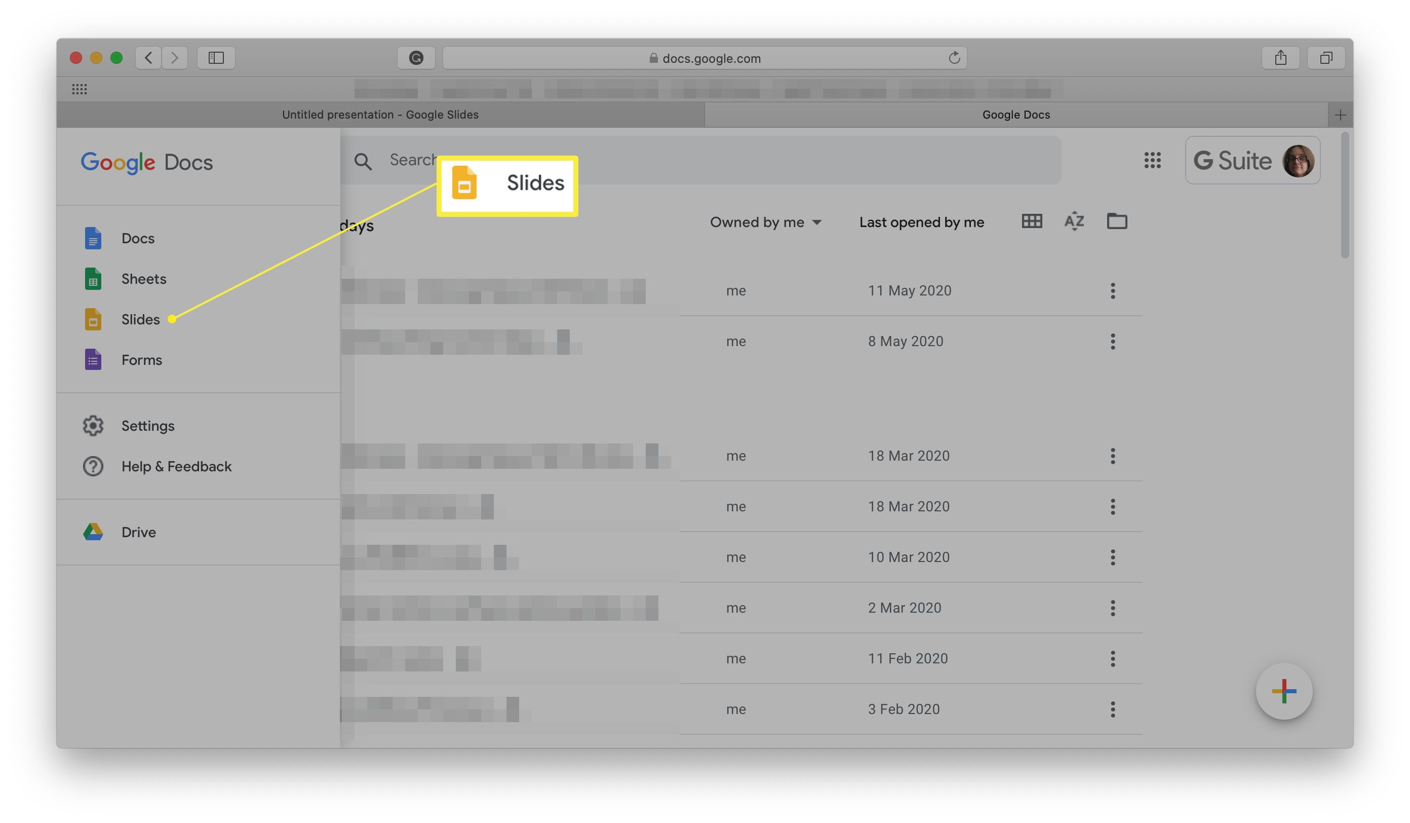 Google Slides highlighted on Google Docs