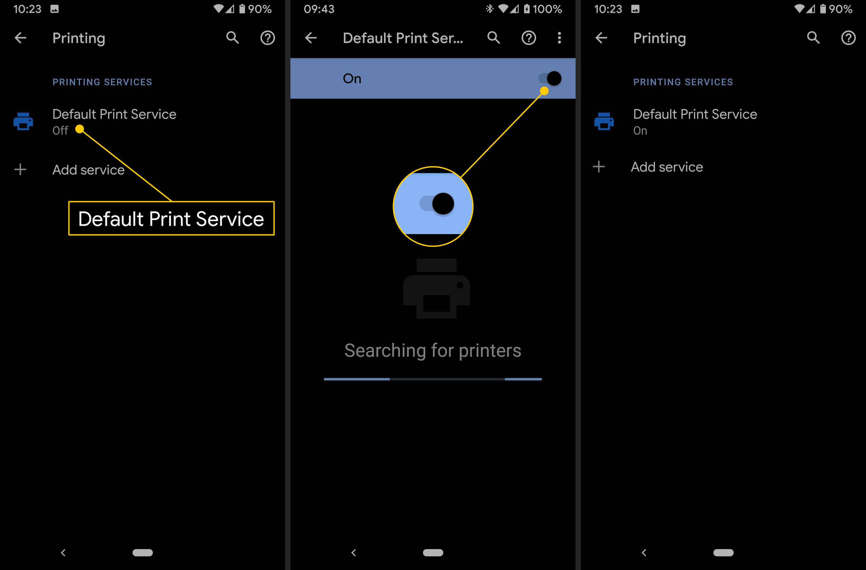 Default Print Service, On toggle, on Android